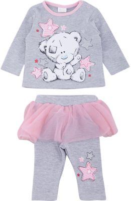 Комплект: футболка с длинным рукавом и брюки PlayToday для девочки - белый