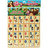 "Карточки на магинтах "" Учим алфавит и цифры . Маша и медведь ""."