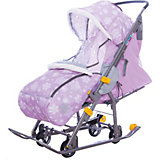 Санки-коляска Ника  Нашидетки, принт со снежинками розовый