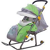 Санки-коляска Ника детям  6, Енот, зеленый/серый