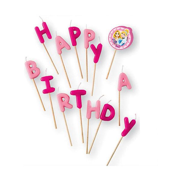 """Свечи-буквы """"Принцессы Disney - Сказочный мир"""" """"Happy Birthday"""""""