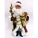 Новогодняя фигурка Дед Мороз в бордовом костюме из пластика и ткани