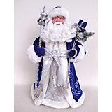Новогодняя фигурка Дед Мороз в синем костюме из пластика и ткани