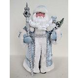 Новогодняя фигурка Дед Мороз в голубом костюме из пластика и ткани