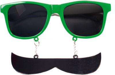 Карнавальные очки Усы зеленые из пластика
