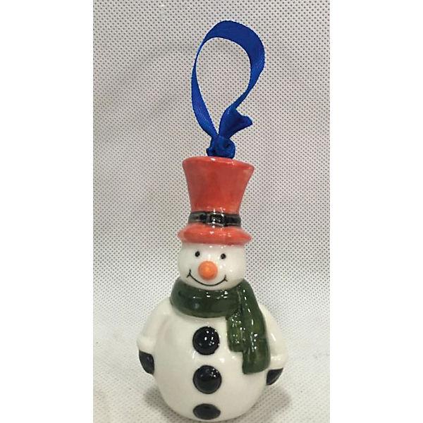 Новогоднее подвесное елочное украшение Снеговик из керамики