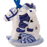 Новогоднее подвесное елочное украшение Лошадка из керамики