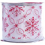Лента новогодняя Красные снежинки арт.42818 из сатина на картонной катушке