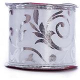 Лента новогодняя Серебряные разводы арт.42821 из сатина на картонной катушке