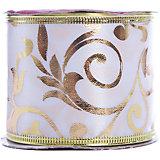 Лента новогодняя Золотые разводы арт.42822 из сатина на картонной катушке