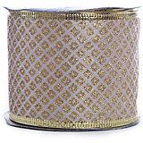 Новогодняя лента Золотые ромбы из полиэстера на картонной катушке, 76221