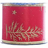 Новогодняя лента Золотые снежинки из полиэстера на картонной катушке, 76226