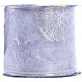 Новогодняя лента Морозные узоры из полиэстера на картонной катушке, 76229