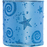 Новогодняя лента Голубой звездопад из полиэстера,