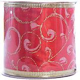 Новогодняя лента Красное пламя из полиэстера, , 76279