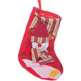 Украшение новогоднее подвесное Снеговик Красно-золотой арт.42516 из полиэстра
