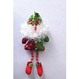 Украшение новогоднее подвесное Дед Мороз красно-зеленый арт.42527 из полиэстра