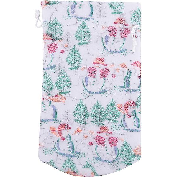 Мешок новогодний для подарков Снеговик и Елка 30*15 см арт.42537 из полиэстра