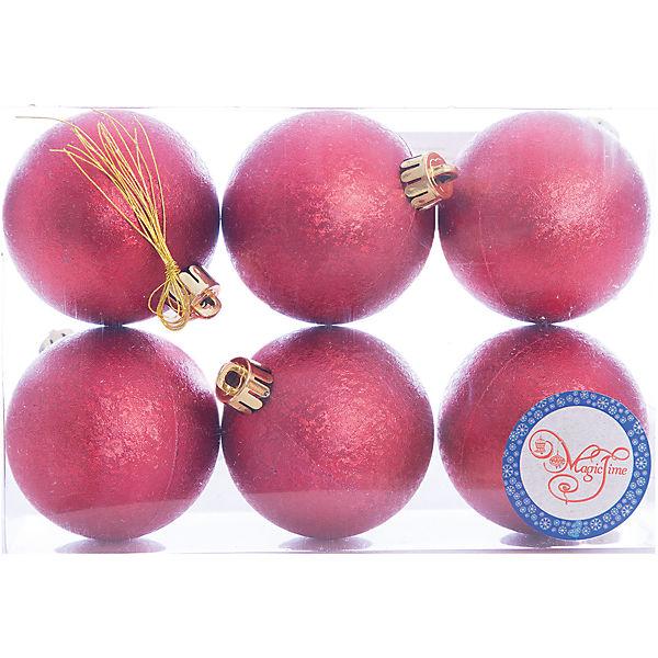 Новогоднее подвесное украшение Шар Зима красный из полистирола. Набор из 6 шт., 76010