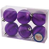 Новогоднее подвесное украшение Шар Гипноз фиолетовый из полистирола. Набор из 6 шт., 76032