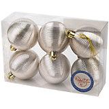 Новогоднее подвесное украшение Шар Гипноз серебряный из полистирола. Набор из 6 шт., 76033