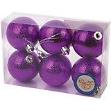 Новогоднее подвесное украшение Шар Мерцание фиолетовый из полистирола. Набор из 6 шт., 76041
