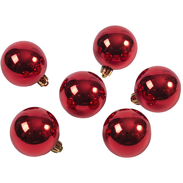 Новогоднее подвесное украшение Шар Глянец красный из полистирола. Набор из 6 шт.