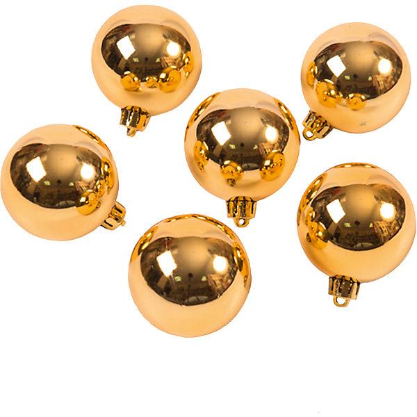 Новогоднее подвесное украшение Шар Глянец золотой из полистирола. Набор из 6 шт., 76065