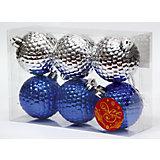 Новогоднее подвесное украшение Ассорти Шары синие и серебряные из полистирола. Набор из 6 шт.