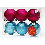 Новогоднее подвесное украшение Ассорти Шары бирюзовые и розовые из полистирола. Набор из 6 шт.
