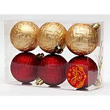 Новогоднее подвесное украшение Ассорти Шары красные и золотые из полистирола. Набор из 6 шт.
