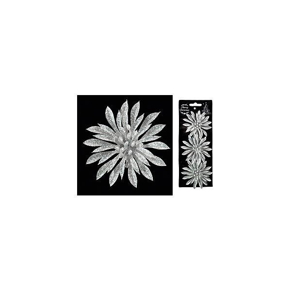 """Набор украшений на елку ErichKrause """"Новогодний цветок на клипе"""", 9 см 3 штуки (серебряный)"""