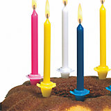 Свечи д/торта разноцветные  24шт  с подсвечниками.