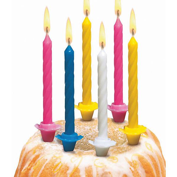 Свечи д/торта малые, 12шт, 12подсвечн., парафин, блистер