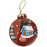 """ёл. укр. """"GRANDE"""" шар новогоднее настроение с блестками внутри  8 см., 1шт, красный"""