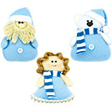 """набор украш  """"ДЕТСКАЯ"""" дед мороз, мишка, ангел, 3шт, голубой"""