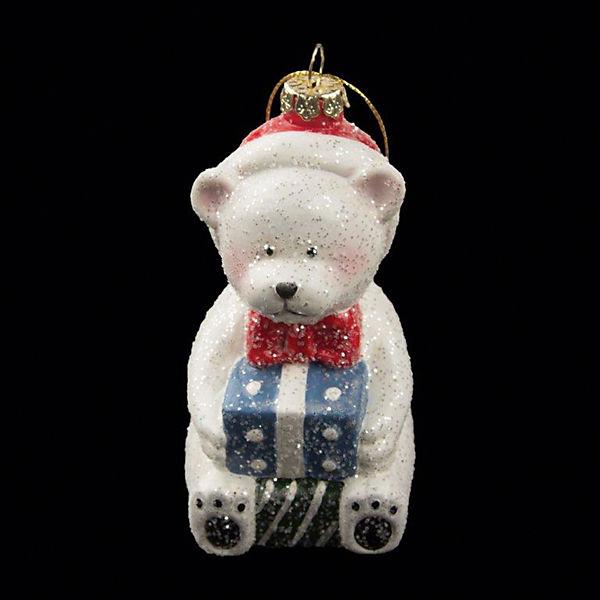 "ёл. укр. ""RUSSIAN WINTER"" мишка с подарком, 11х6,3 см., 1шт., белый"