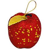 """ёл. укр. набор """"РУССКАЯ"""" яблочки, 6см, 6шт, красный, золот лист"""