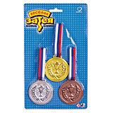 Медаль чемпиона Веселая затея 3 шт (золото, серебро, бронза)