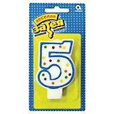"""Свеча для торта Веселая затея """"Цифра 5"""", 7,6 см"""
