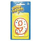 """Свеча для торта Веселая затея """"Цифра 9"""", 7,6 см"""