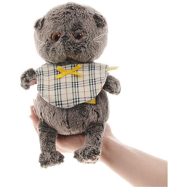 Мягкая игрушка Budi Basa Кот Басик Baby в клечатом слюнявчике, 20 см