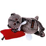 Мягкая игрушка Budi Basa Кот Басик в бабочке на красной подушке, 18 см