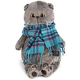 Мягкая игрушка Budi Basa Кот Басик в изумрудном шарфе, 22 см