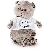 Мягкая игрушка Budi Basa Кот Басик в футболке с принтом Мордочка Басика, 22 см