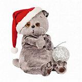Мягкая игрушка Budi Basa Кот Басик и новогодний колпак, 30 см