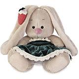 Мягкая игрушка Budi Basa Зайка Ми в бархатном платье и клубничкой на ушке, 15 см