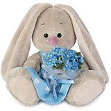 Мягкая игрушка Budi Basa Зайка Ми в голубом платье с букетом незабудок, 15 см
