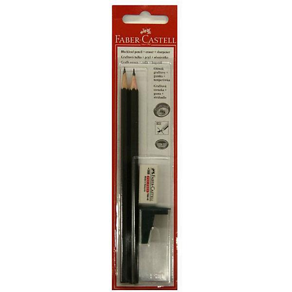 Карандаш чернографитный с ластиком + точилка Faber-Castell НВ, 2 шт