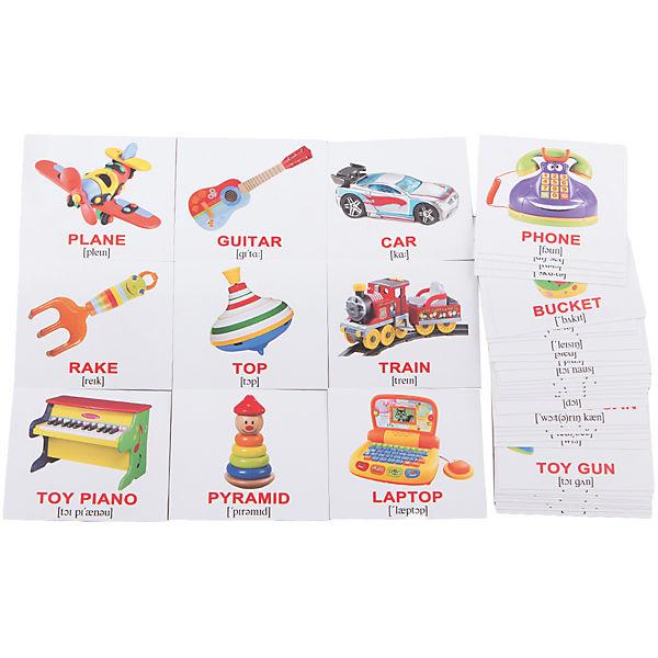 """Набор обучающих мини-карточек Вундеркинд с пелёнок """"Toys/Игрушки"""", двухсторонний 40 штук"""